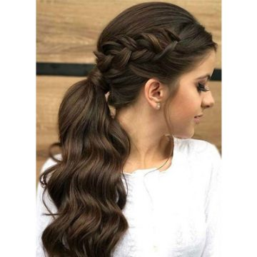 Take your love for ponytails a step further with the braided, stringed ponytail!